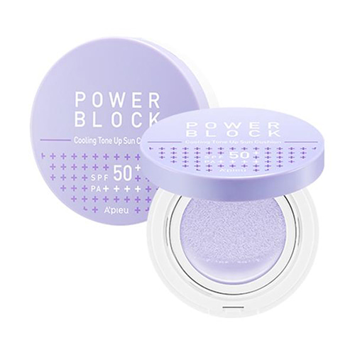 A'PIEU Power Block Cooling Tone Up Sun Cushion Azulene SPF50+ PA++++ 14g