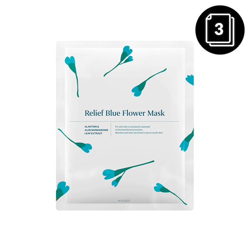 HYGGEE Relief Blue Flower Mask 35ml * 3ea