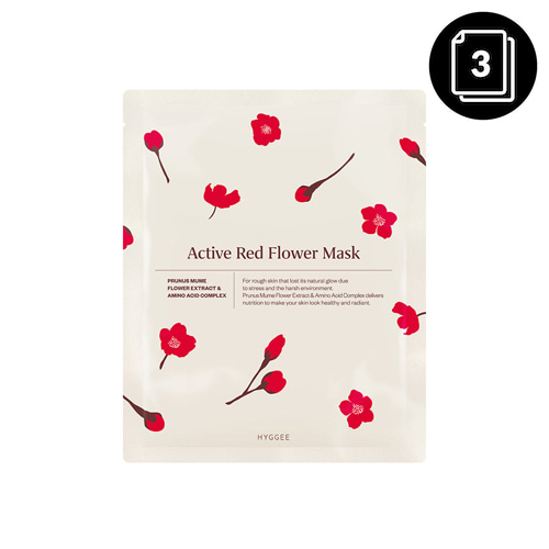 HYGGEE Active Red Flower Mask 30ml * 3ea